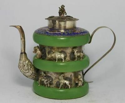 CHINESE OLD JADE TIBET-SILVER TEA POT MONKEY lid ZW