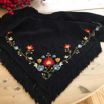 New Hand Embroidered Norwegian Rogaland Bunad Shawl From Norway
