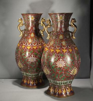 Pr, Chinese Antique Qing Dynasty Cloisonne Pear Shaped Large Vases