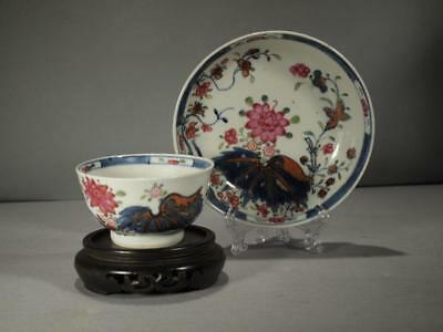 Chinese Export 18Th C. Pseudo Tobacco Leaf Tea Bowl And Saucer