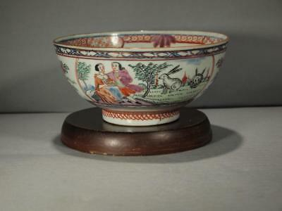 Rare Chinese Export 18Th C. Clobbered European Subject Bowl