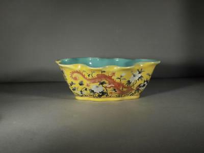 Chinese Marked Grisaille Dragon Leaf Shaped Bowl