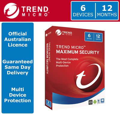 Trend Micro Maximum Security 2018 - 6 Devices | 12 Months > OFFICIAL AUS LICENCE