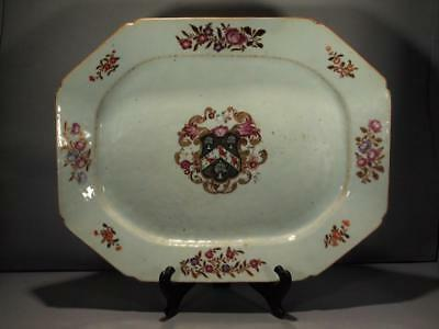 Chinese Export Armorial Platter Arms Of White Circa 1760