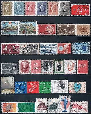 NORWAY - Mixed lot of 36 Stamps, most Good - Fine Used, LH