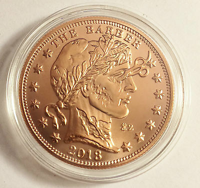 "NEW 2018 1 OZ ""ZOMBUCKS THE BARBER"" .999 Pure Copper Bullion Coin a"