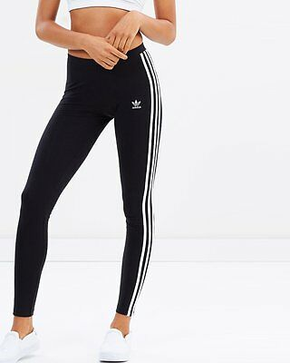originals women's adidas3 stripes leggings black/white medium