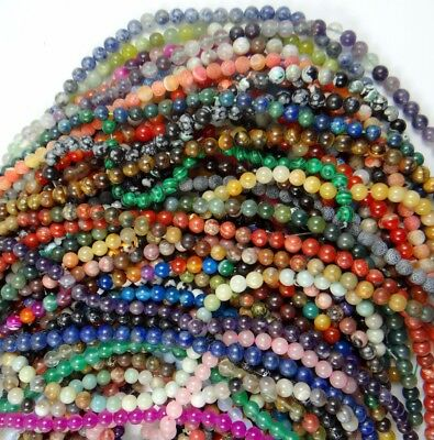 wholesale 4/6/8/10/12MM Natural Mix agate Gem Round Charms Beads Jewelry Making