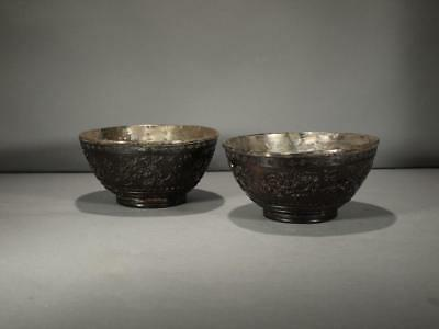 Pair Of Chinese 18/19Th Century Carved Coconut And Silver Bowls