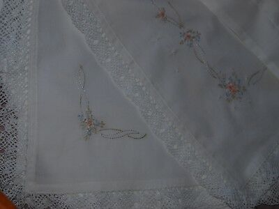 White Cotton Voile Hand Embroidered Baby Wrap or Receiving Blanket 100cmx100cm