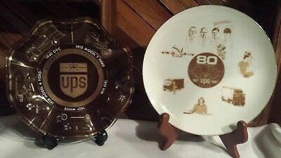 Vintage UPS United Parcel Service items 70 and 80 Years Glass Candy Dish & Plate