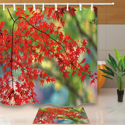 Autumn theme Red Leaves Branches Bathroom Fabric Shower Curtain With Hook 71""