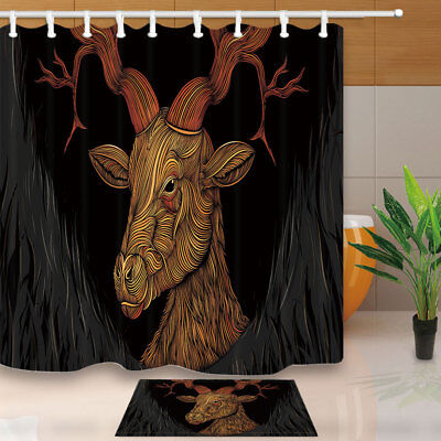 Creative Elk Animal Theme Bathroom Fabric Shower Curtain 71X71 Inches With Hook