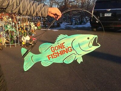 Vintage Cabin Gone Fishing Sign W/ Fish & Rod Reel Lure Man Cave Decor 36inX18in
