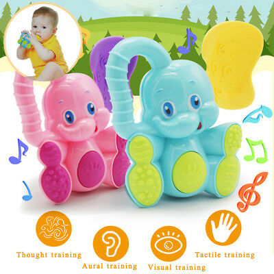 1PC Baby Safety Teether Hand Shake Bell Ring Funny Educational Elephant Toy