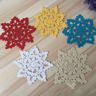 Snowflake Doily Coasters Doilies Mat Handicraft Crochet Cotton Lace Cover 15cm