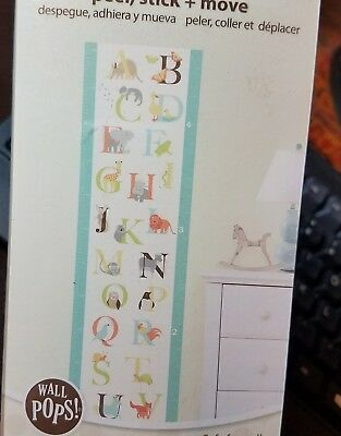 "Wall Pops Baby Peel-Stick-Move Growth Chart Alphabet Zoo 13"" X 52"" 3 Sheets New"