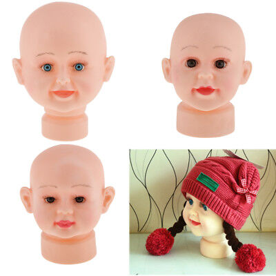 Child Size Baby Mannequin Manikin Head Hair Wigs Hats Glasses Display Stand