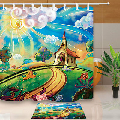 Landscape Outside Watercolor Cartoon House Bathroom Fabric Shower Curtain 71""