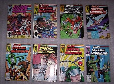 8 Vintage GI Joe comics, 7 Special Missions + 1 Yearbook, Good/VG shape!