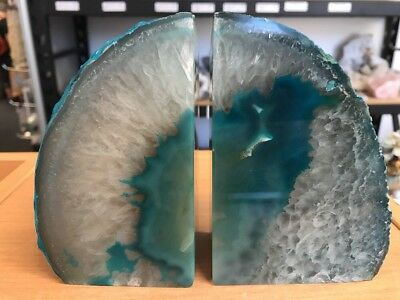 1.590 Kilo - Amazing Teal Crystal & Agate Bookends From Brazil (#1228)