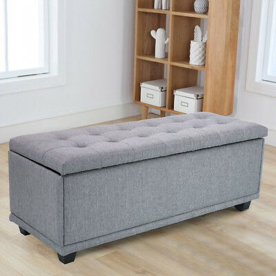 Contemporary Rectangular Storage Ottoman Bench Living Room, Large, Grey