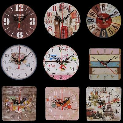 Vintage Rustic Wooden Wall Clock Antique Shabby Chic Retro Home Decor Kitchen