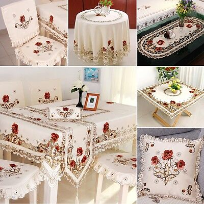 yazi Embroidered Tablecloth Cover Doily Pillowcase Table Cloth Runner Placemats