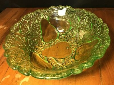 "Rare Green Depression Glass Pear Pattern Bowl 9.25"" Bowl"