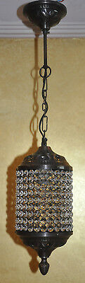 Vintage Crystal Chandeliers Iron Ceiling Lamp Large Hanging Pendant Lamp 76cm