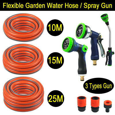 10M 15M 25M Expandable Water Garden Hose Pipe Anti-kink & 8IN1 Spray Gun Nozzle