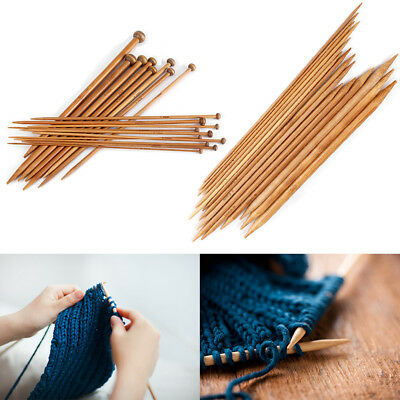 Bamboo Knitting Needles Carbonized Single/Double Pointed Set from 2mm to 10mm