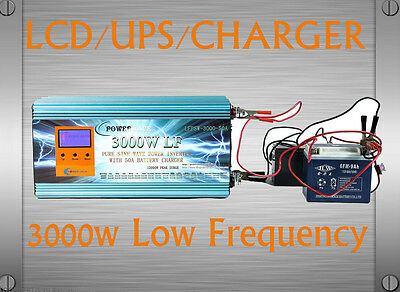 UK Stock~3000W LF Pure Sine Wave 24VDC/230VAC 50Hz PowerInverter LCD/UPS/Charger