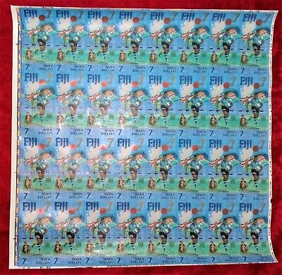 Fiji 2017 $7 Dollars Uncut Sheet - 32 Notes Rugby Rio 2016 Gold Olympians Unc