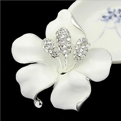 Gorgeous Silver Plated White Hibiscus Flower Statement Brooch