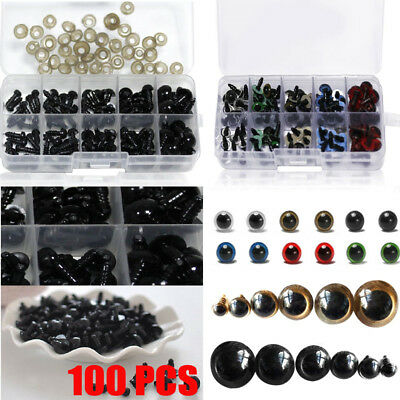 100pcs Color Plastic Safety Eyes For Teddy Bear Doll Animal Toy Making 10mm