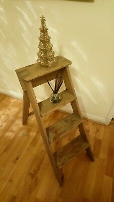 Vintage Wood 3 Tread Wooden Step Ladder - Collect/courier