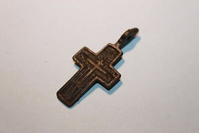 Ancient Russian Bronze Cross! XVII-XVIII Century! (D408)