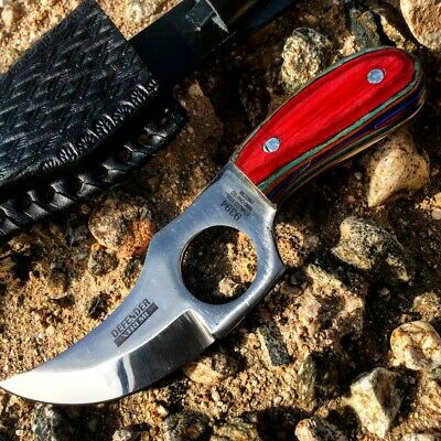 """6"""" Defender Xtreme Skinner Knife with Multi-Color Handle and Leather Sheath"""