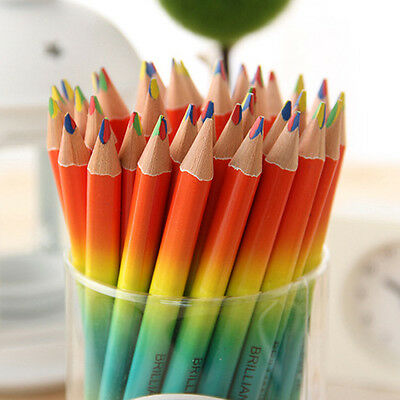Hot Rainbow Color Pencil 4 in 1 Colored Drawing Painting Pen School Kid Pencils