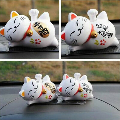 1pc Solar Powered Lucky Maneki Neko Waving Beckoning Fortune Cat Car Decor Gift