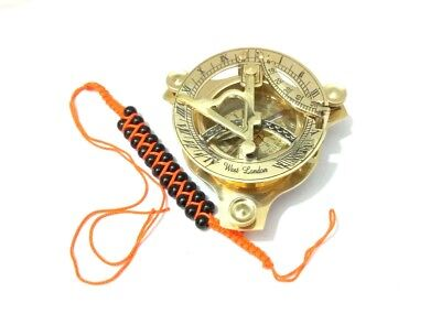 Brass-Sundial-Compass-Maritime-Vintage-West-London-Marine-Working Compass