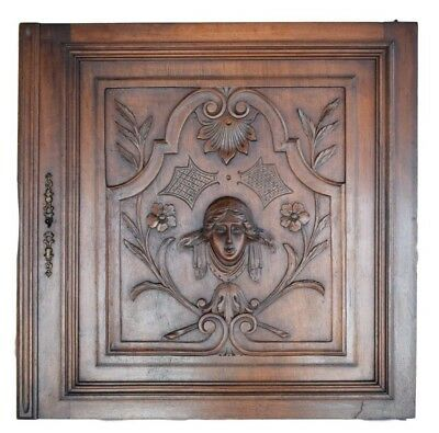 French Architectural Renaissance Style Hand Carved Face Walnut Wood Door Panel
