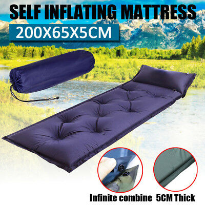5CM Thick Self Inflating Mattress Sleeping Mat Airbed Camping Hiking Joinable