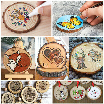 Wooden Log Slices Discs Natural Tree Bark Decorative  Round/Oval Shape