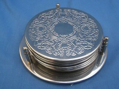 Vintage Set Of 6 Matching Silver Plated Glass Mats Coasters In Original Stand