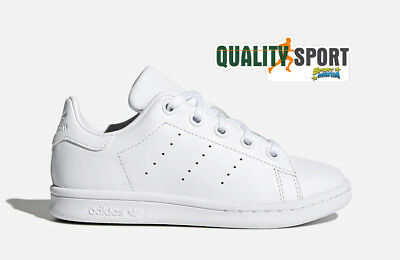 check out 8a332 586d7 Adidas Stan Smith C Bianco Scarpe Bambino Junior Shoes Sportive Sneakers  BA8388