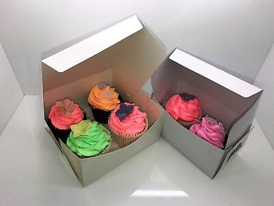 "250 of White Folding Cardboard Cake Box / Cupcake / Muffin Boxes 7"" x 7"" x 3"""