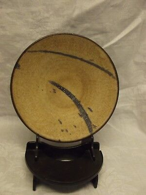 Japanese-Style Studio Pottery Plate with Stand