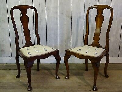 Pair of Queen Anne Style Upholstered Seat Chairs Delivery Available